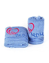 Prick-N-Pounce Premium Luxurious 500 GSM Embroidered Hand Towel Set, Set of 2, for Parents, Mom, Dad, Gift, Gifting 16 x 30 Inch, Blue