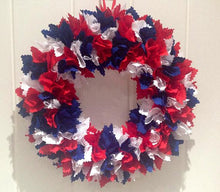 Red White & Blue Patriotic Fabric Wreath | Custom Colours | July 4th Wreath | Memorial Day | Door Decor | Labour Day