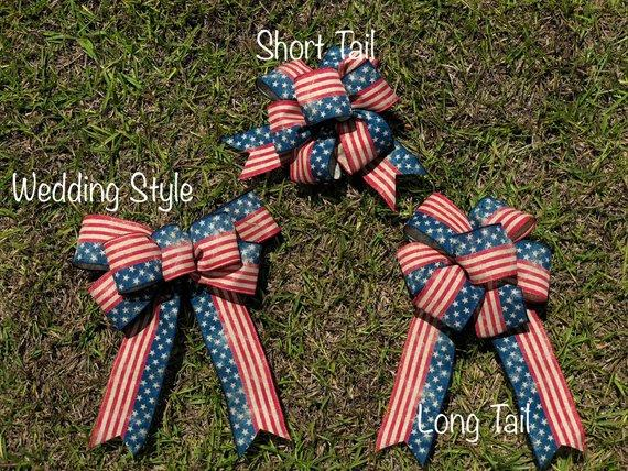 Red White and Blue Bow, Wreath Mailbox Latern or Candlestick Bow