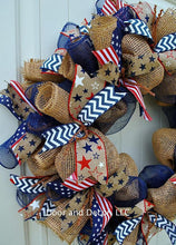 Red White and Blue Patriotic Burlap Mesh Wreath-Custom Monogram Wreath-July 4th Wreath-Memorial Day-Labor Day-Front Door Decor-USA