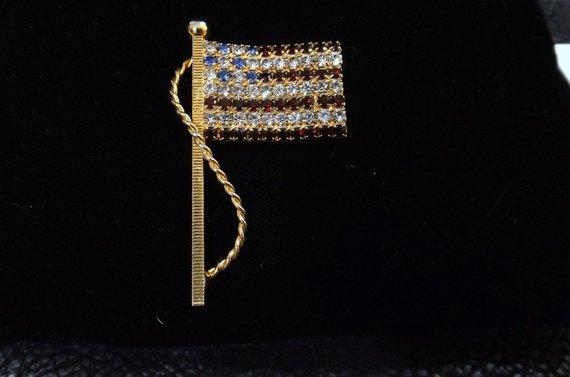 Red White and Blue Rhinestone Flag Brooch