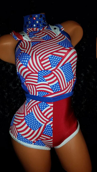 Red, White, & Blue USA Flag Exotic Dancewear outfit.  Halloween, Labor day. High Waist Booty Shorts, Hoodie, Choker, Beads, Stones, Custom
