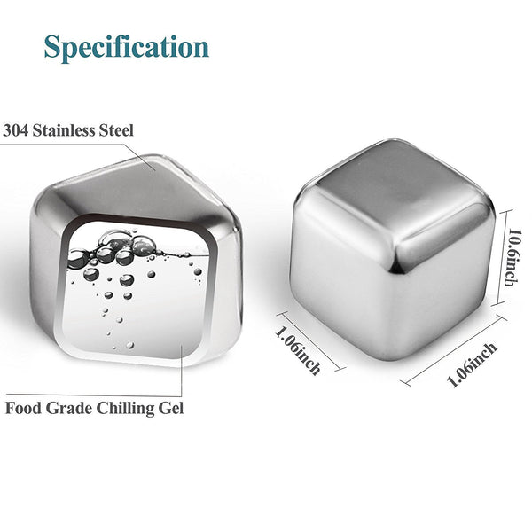 Reusable Stainless Steel Chilling Cube Stones Pack of 8/6/4