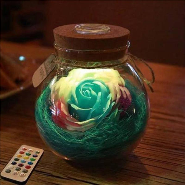 Rose Wish Bottle Handmade Eternal Never Withered Flower With Remote Control 7 Color LED Light Bottle Gift for Valentine's Day Mother's Day Anniversary Birthday Wedding