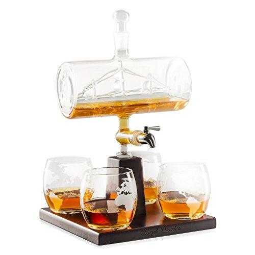 Royal Decanters Sailing Ship - Perfect Gift Set - Stainless Steel Spigot Liquor Dispenser - 4 Etched World Map Glasses - for Brandy Tequila Bourbon Scotch Rum -Alcohol Related Gifts for Dad (1000ML)