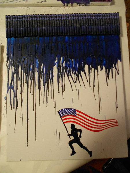 Running for America Melted Crayon Painting