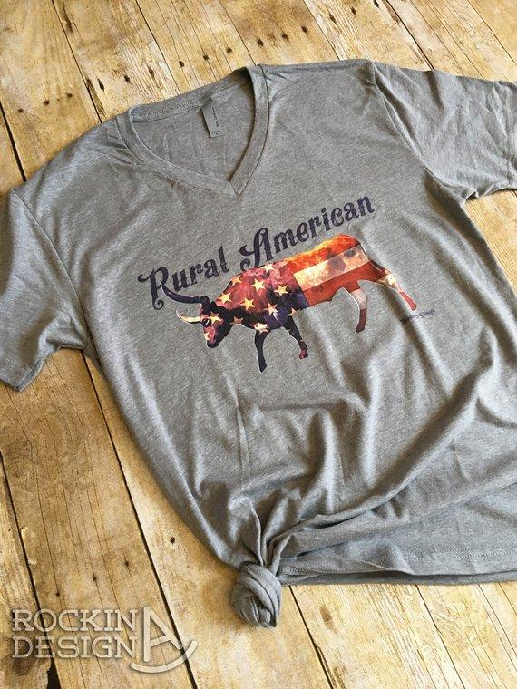 Rural American heather grey v-neck unisex t shirt / longhorn / cattle / cow / American Flag / Western / Agriculture / Farmer / Rancher