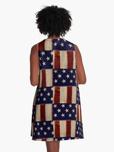 Rustic American Flag Dress, A Line Dresses, Patriotic Dress, Clothing, Red White Blue, Fashion, Stars and Stripes, 4th of July Summer Dress