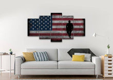 Rustic American Flag with Soldiers #2 - Army Rangers- Military Art- Patriotic Wall Art- Navy Seals- Army Wall Decor- US Marines- Canvas