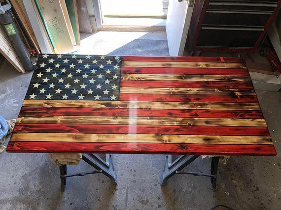 "Rustic Color American Flag 24"" x 12"" x 1.25"""