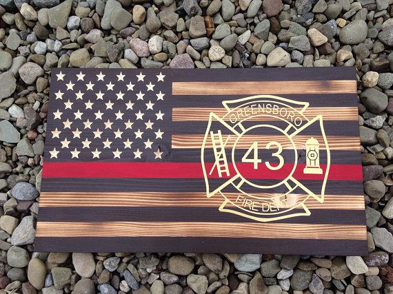 Rustic Flag -Wooden Flag - American Flag - flag with red line - fireman flag- firefighter gift - Vinyl Maltese cross -firefighter graduation