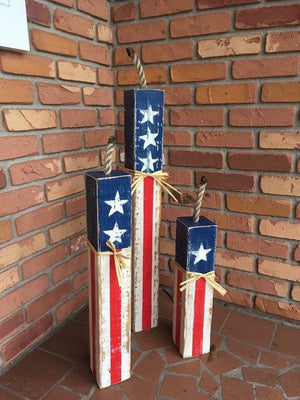 Rustic Front porch decor, Firecracker Set, patriotic decor, party decor, American flag, home decor, garden decor, holiday decor