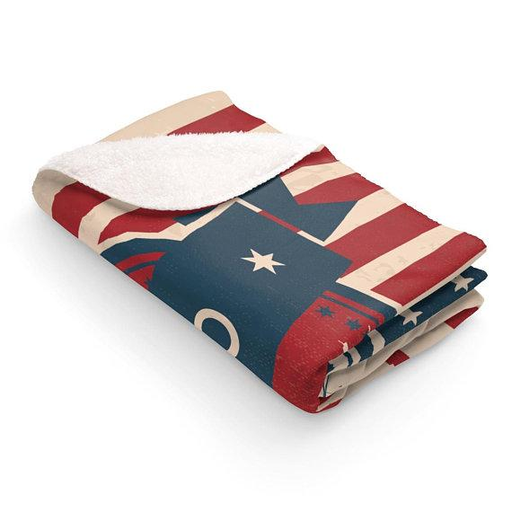 Sacramento California Sherpa Fleece Blanket  Retro Americana Style With American Flag