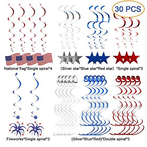 Sakiyr 30 PCS 4th of July Decorations, Streamers with American Flag, Foil Streamers, Star Swirl Hanging Decorations For Presidents Memorial Day Decoration and Patriotic Party Supplies