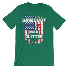 Sawdust Is Man Glitter Shirt Woodworking American Flag USA Father Grandfather Birthday Gift Fathers Day For Men Short-Sleeve Unisex T-Shirt