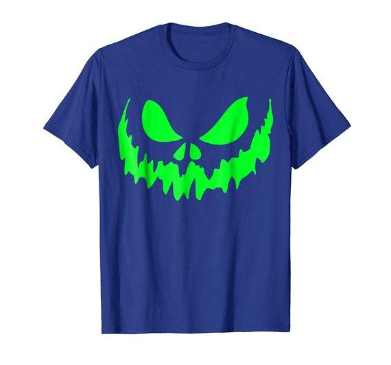 Scary Face Halloween Tshirt Glow in the Dark Effect Print