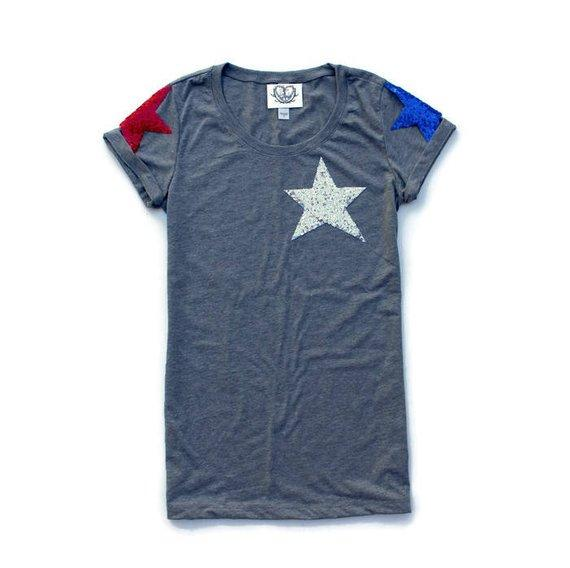Sequin Star 4th of July Shirt. Stars and Stripes. Fourth of July Shirt. America Tee. USA Tank Top. American Flag. Red White Blue. Celestial