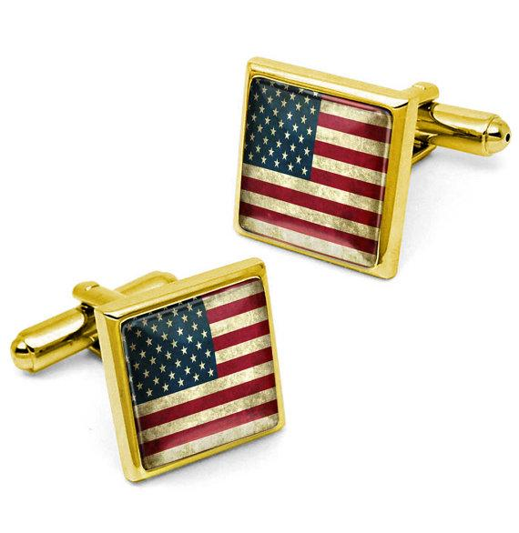 Shiny Gold USA United States of America 4th of July Patriotic American Flag Cufflink Set w/ Box 330-GSC