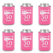 Shop4Ever Cheers & Beers to 30 Years Can Coolie Birthday Drink Coolers Coolies Black - 12 Pack