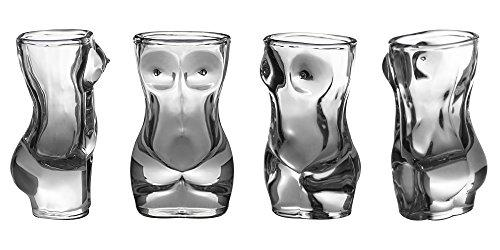 Shot Glass Set (4-Piece Set) Crystal, Women Shaped Custom Design | Bachelor or Bachelorette Party Drinks | Tequila, Vodka, Whiskey, Bourbon | Funny, Durable Style (FemaleV2)