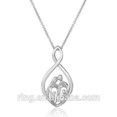 Silver Plated Parents and Two Children Infinity Pendant Necklace