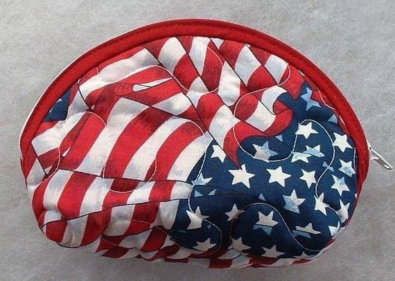 Small Quilted Purse - American Flag print