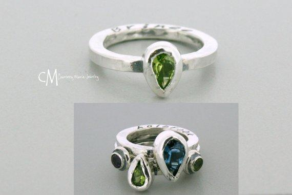 Stackabe Mothers Ring - Mothers Ring - Stackable Ring - Stackable Birthstone Ring - Stacking Mothers Ring - Custom Gemstone Ring - 7x5mm