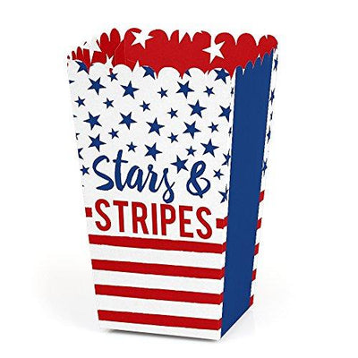 Stars & Stripes - Labor Day USA Patriotic Party Favor Popcorn Treat Boxes - Set of 12