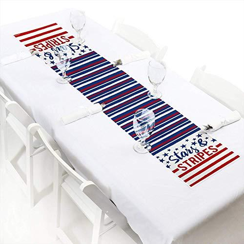 "Stars & Stripes - Petite Labor Day USA Patriotic Party Paper Table Runner - 12"" x 60"""