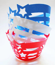Stars and Stripes Cupcake Wrappers In Your Choice of Color Qty 12 By Your Little Cupcake