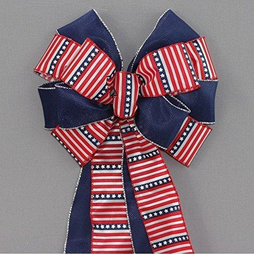 "Stars Stripes Patriotic Wreath Bow - 10"" wide"