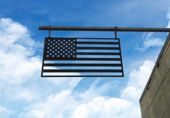 Steel American Flag + Made in the USA with American Steel Metal for Interior and Exterior Use