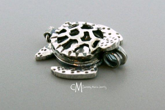 Sterling Silver Essential oil Necklace - Sea Turtle Pendant - Sea Turtle locket - sterling silver locket - Aromatherapy Necklace