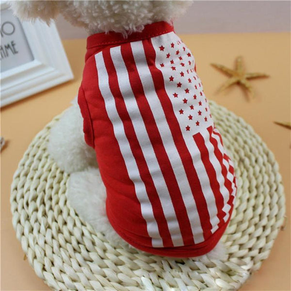 Summer Pet Clothes For Small Middle Dog Cat XS-L Puppy Costumes  American Flag Pet Dog Cat T-shirt Vest Apparel Wholesale 30JE9