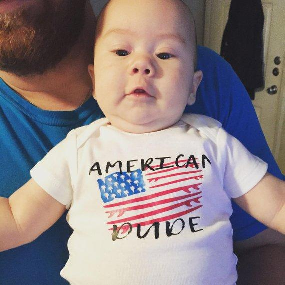 Surfboard Baby Outfit, All American Dude, Labor Day Baby Onesies®, Patriotic Baby, 4th Of July Baby, Memorial Day Baby outfit, America Baby