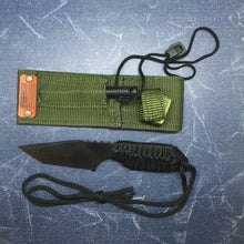 Tactical Black Steel Military Knife with Fire Starter, Nylon Sheath with American Flag Stamped Leather, Military Gift, Survival Knife