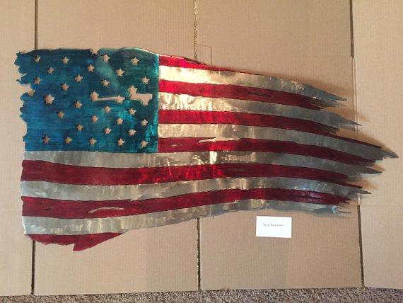 "Tattered American Flag Metal Art, 36"" Battle Torn American Flag Wall Hanging, Metal American Flag Home Decor, Large Battle Flag Home Decor"