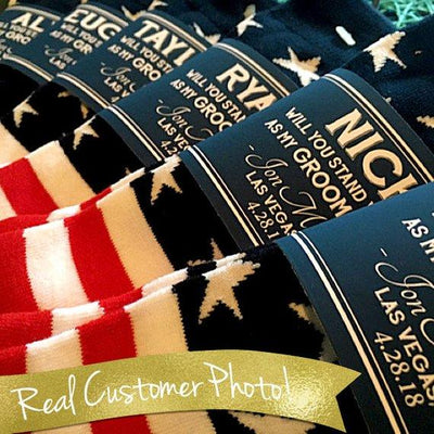 THE ORIGINAL Groomsmen Gift Socks Labels / American Flag Socks for Wedding / Asking Best Man Be My Groomsman / Asking Groomsmen Socks Men