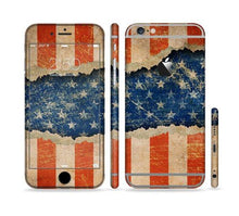 The Scratched Surface Peeled American Flag Six-Piece Sectioned Series Skin Set for the Apple iPhone 6 or 6 Plus