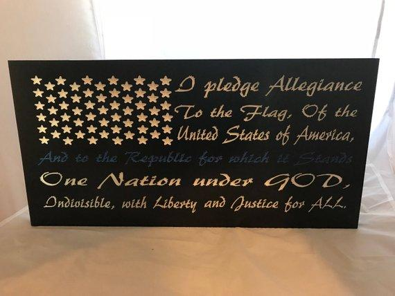 Thin Blue Line, Pledge of Allegiance, Rustic Flag,  Thin Red Line, America Flag, Distressed American Flag, Patriotic, USA, Americana, Police