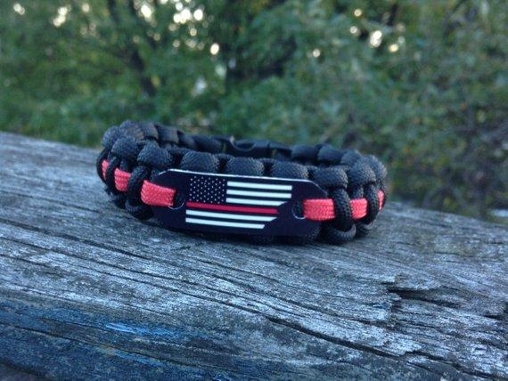 Thin Red Line American Flag Paracord Bracelet for Firefighters, Fireman gift, Torn American Flag paracord charm, His birthday gift guide