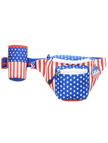 Tipsy Elves American Flag USA Fanny Pack with Drink Holder