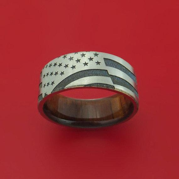 Titanium American Flag Custom Made United States Flag Ring with Wood Sleeve