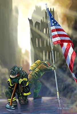 Toland Home Garden American Heroes 12.5 x 18 Inch Decorative Patriotic September 11 Firefighter USA Garden Flag