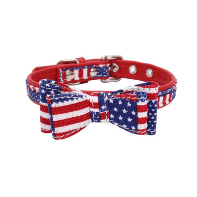 Transer Pet Supply American Flag Print PU Leather Cloth Pet Dog Collar with Bowknot 80531