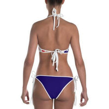 Tropical Penguin American Flag Bikini with White Bottoms