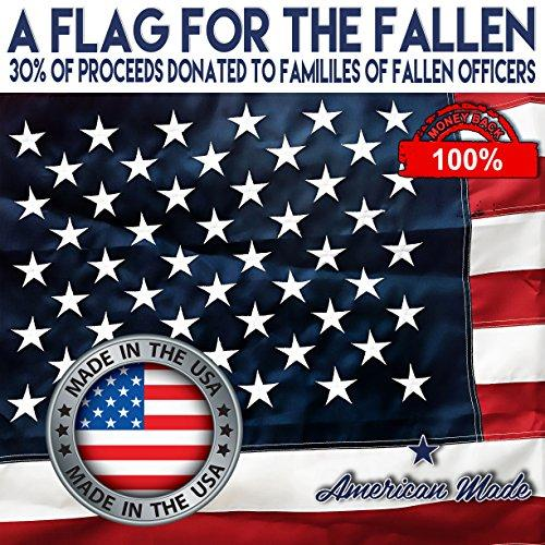 U.S. American Flag 6'x10' + FREE Affiche. Made in USA with Top-Rated DURALAST Fabric. Embroidered Stars Sewn Stripes. Sturdy Brass Grommets. 30% of Proceeds Donated to Families of Fallen Officers.