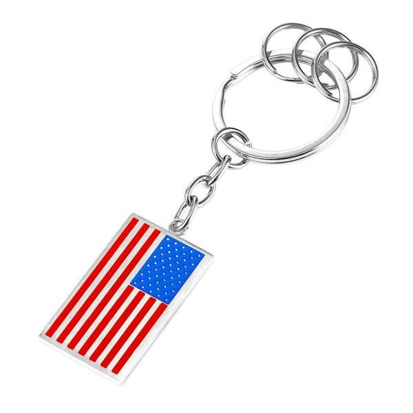 U7 New American Flag Medal Key Chains Stainless Steel Yellow Gold Plat