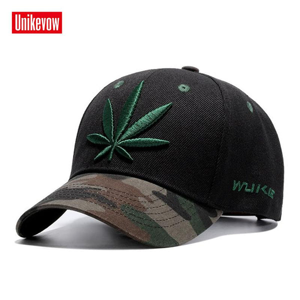 51eea32d883 UNIKEVOW High quality Baseball Cap Unisex Sports Leisure Hats Leaf  Embroidery Sport Cap For Men And