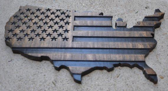 United States outline / wooden wall art / United States flag / American flag art